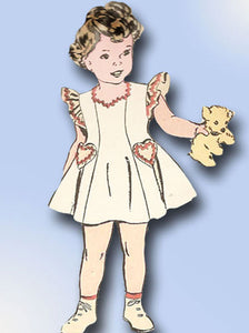1940s Vintage Toddler Girls Dress 1946 Advance VTG Sewing Pattern 4249 Size 4