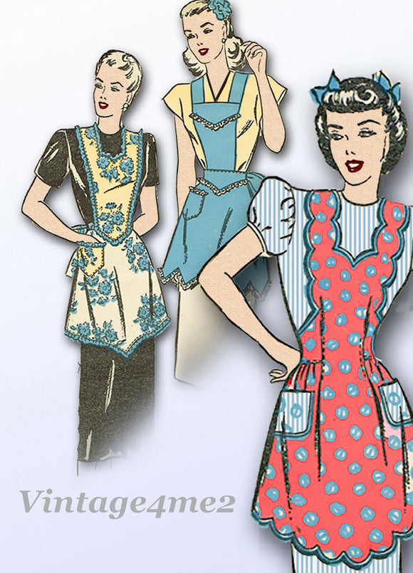 1940s Vintage Advance Sewing Pattern 4312 Misses Full Apron Set Size 38 40 Bust