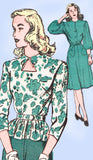 1940s Vintage Advance Sewing Pattern 4344 Misses Peplum Dress Size 11 29 Bust