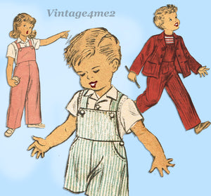 Advance 4440: 1940s Toddler Girl or Boys Overalls & Jacket Sz 6 Vintage Sewing Pattern