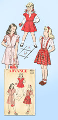 1940s Vintage Advance Sewing Pattern 4501 Girls Skirt Blouse Jumper Size 8