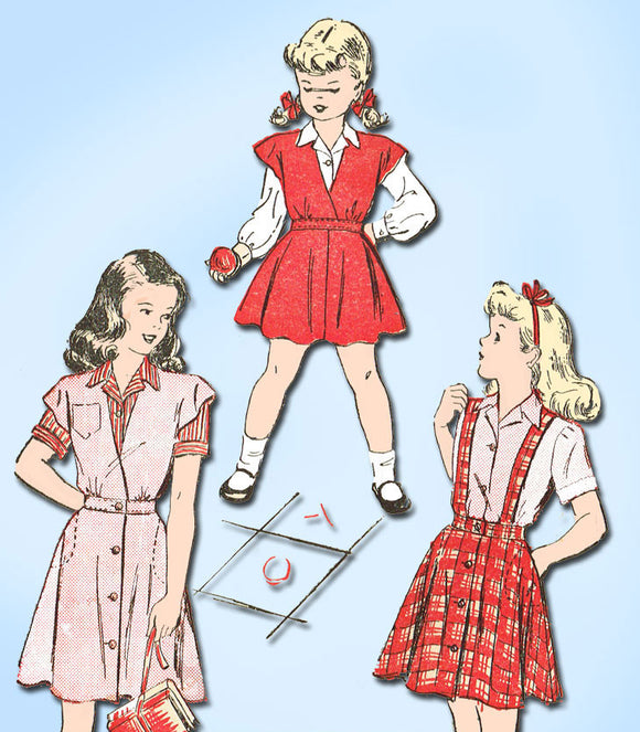 1940s Vintage Advance Sewing Pattern 4501 Girls Skirt Blouse Jumper Size 8 - Vintage4me2