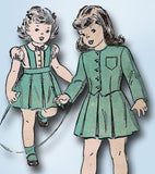 1940s Vintage Advance Sewing Pattern 4701 Toddler Girls Suit & Blouse Size 3 22B