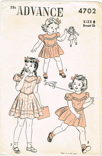 1940s Vintage 1947 Advance Sewing Pattern 4702 Little Girls Dress Size 8 NICE - Vintage4me2
