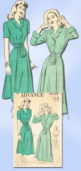 1940s Vintage Advance Sewing Pattern 4709 Misses Dress Pattern Gr8 Back Sz 30 B - Vintage4me2