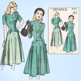 1940s Vintage Advance Sewing Pattern 4771 Uncut Misses Peplum Suit Sz 34 Bust