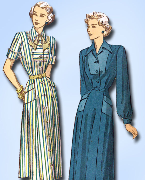 1940s Vintage Advance Sewing Pattern 4883 Misses Tailored Street Dress Sz 14 32B - Vintage4me2