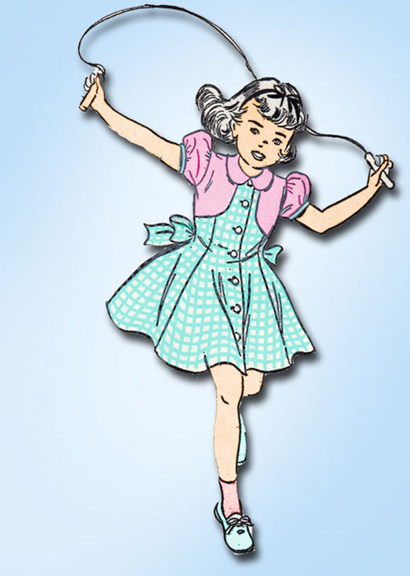 1940s Vintage Toddler Girls Dress 1948 Advance Sewing Pattern 4952 Size 4