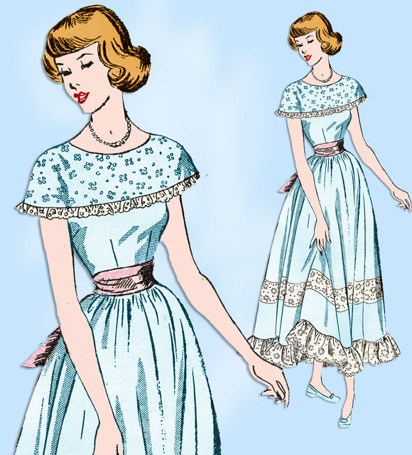 1940s Vintage Advance Sewing Pattern 4965 Uncut Junior Misses Prom Dress Sz 33 B - Vintage4me2
