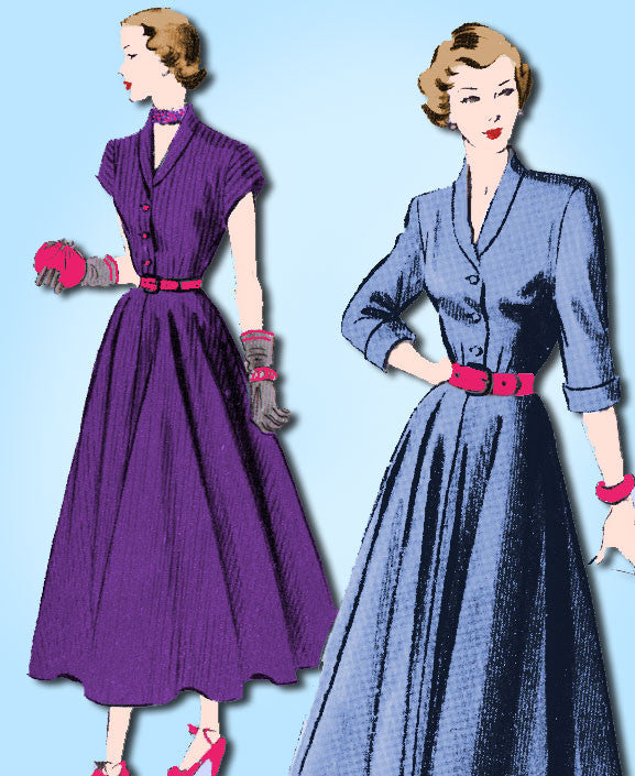 1950s Vintage Advance Sewing Pattern 5057 Stylish Misses Shirtwaist Dress Sz 14