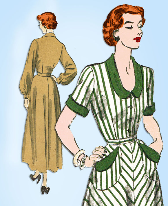 1940s Vintage Advance Sewing Pattern 5089 Misses Bias Cut Afternoon Dress Sz 38B - Vintage4me2