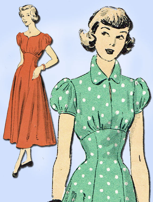 1940s Vintage Advance Sewing Pattern 5120 Youthful Misses' Empire Dress Size 12 - Vintage4me2