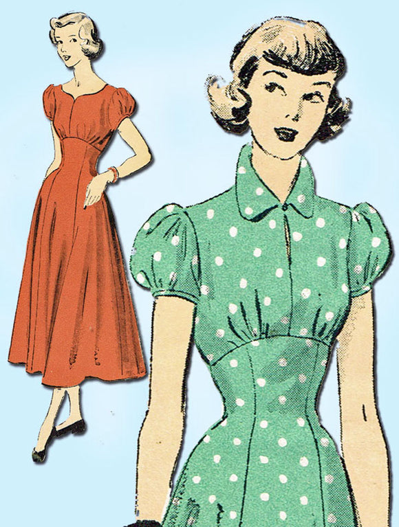 1930s Vintage Advance Sewing Pattern 5120 Uncut Teenage Misses Dress Size 31.5 B - Vintage4me2