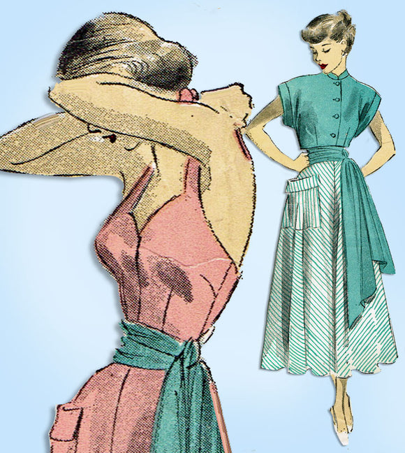 1940s Vintage Advance Sewing Pattern 5160 Misses Sun Dress w Topper & Sash 30 B - Vintage4me2