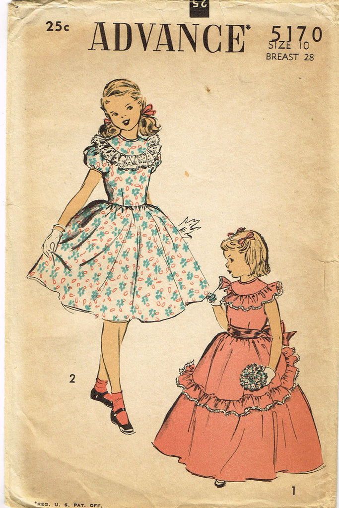 1940s Vintage Advance Sewing Pattern 5170 Uncut Girls Dress Or Gown