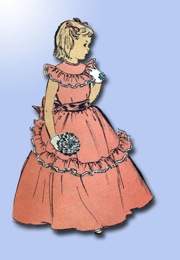 1940s Vintage Advance Sewing Pattern 5170 Toddler Girls Dress or Gown Size 6 24B