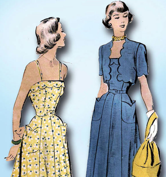 1940s Vintage Advance Sewing Pattern 5180 Misses Sun Dress & Bolero Size 32 Bust - Vintage4me2