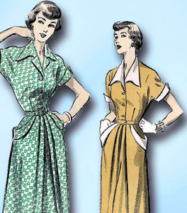 1940s Vintage Advance Sewing Pattern 5216 Misses Shirtwaist Dress Size 32 Bust -Vintage4me2