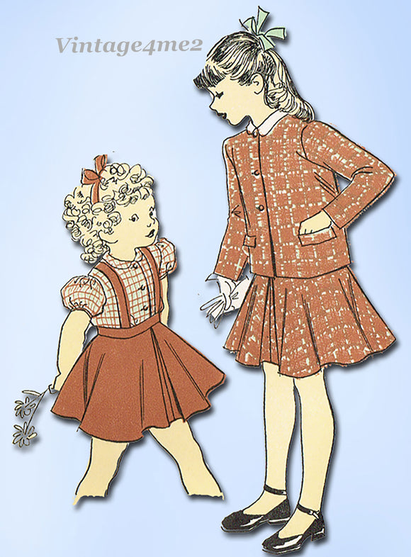 1940s Vintage Advance Sewing Pattern 5275 Classic Little Girls Suit Size 8