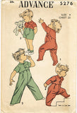 1940s Vintage Advance Sewing Pattern 5276 Toddler Boy & Girls Coveralls Size 4 - Vintage4me2