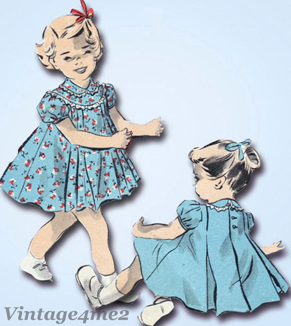 Advance 5316: 1940s Baby Girls Flared Pleated Dress Sz 1 Vintage Sewing Pattern - Vintage4me2
