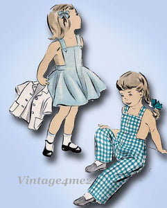 1950s Vintage Advance Sewing Pattern 5382 Childs Overalls Dress & Jacket Size 4