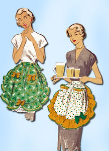 1950s Vintage Advance Sewing Pattern 5423 Misses Ruffled Cocktail Apron Fits All