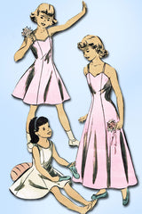 1950s Vintage Advance Sewing Pattern 5449 Cute Girls Princess Cut Slip Size 10