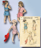 1950s Vintage Advance Sewing Pattern 5494 Little Girls Top and Shorts Size 8