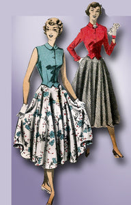 1950s Misses Advance Sewing Pattern 5496 Uncut MIsses Skirt & Weskit Size 15 33B