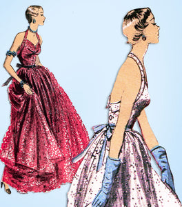 1950s Vintage Advance Sewing Pattern 5660 Misses Evening Gown Halter Style 30 B - Vintage4me2