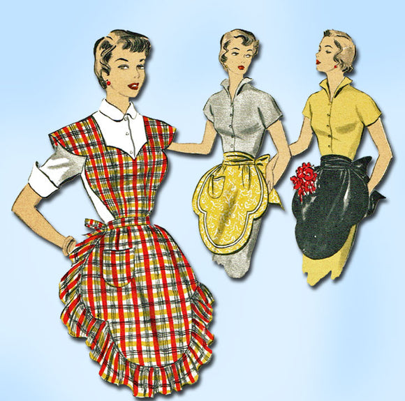 1950s Vintage Advance Sewing Pattern 5667 Misses Full Bib Apron Set Size 28 30 B