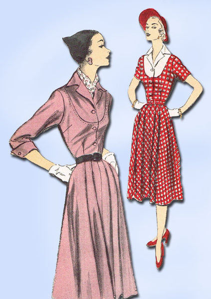 1950s Vintage 1951 Advance Sewing Pattern 5729 Misses Street Dress Size 16