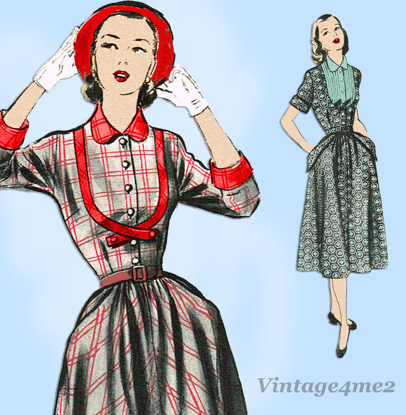 Advance 5868: 1950s Uncut Misses Day Dress Sz 35 B Vintage Sewing Pattern - Vintage4me2