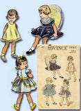 1950s Vintage Advance Sewing Pattern 5887 Toddler Girls Party Dress Size 2