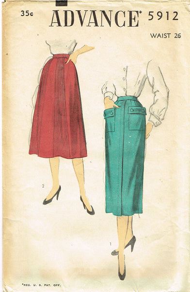 1950s Vintage Advance Sewing Pattern 5912 Misses Day Skirt 2 Styles Size 26 W
