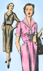 1950s Vintage Advance Sewing Pattern 5966 Misses Street Dress Size 16 34 Bust