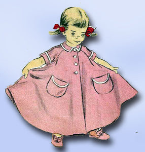 1950s Vintage Advance Sewing Pattern 5982 Little Girls Flared Housecoat Size 10