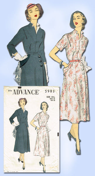 1950s Vintage Advance Sewing Pattern 5983 Misses Afternoon Dress Size 32 B