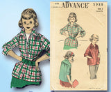 1950s Vintage Advance Sewing Pattern 5988 Toddler Girls Pullover Jacket Size 6