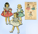 1950s Vintage Advance Sewing Pattern 5991 Toddler Girls Triangle Dress Size 2