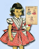 1950s Vintage Advance Sewing Pattern 5991 Toddler Girls Triangle Dress Size 4