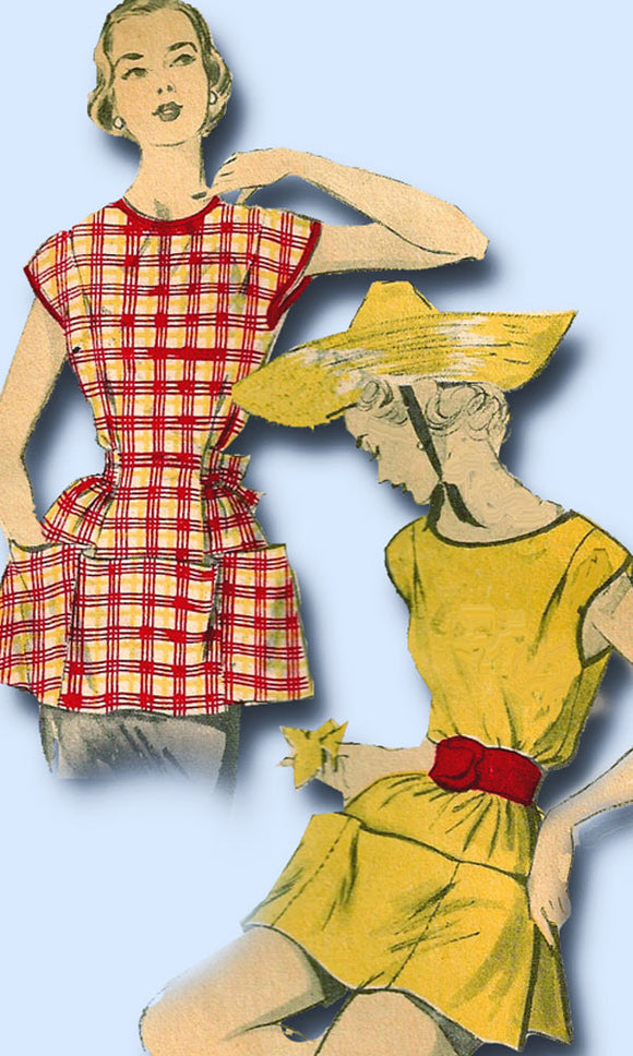 1950s Vintage Misses Easy Cobbler Apron 1952 Advance Sewing Pattern 5998 Size M
