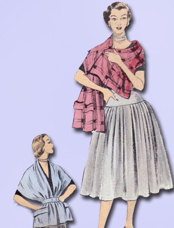 1950s Misses Advance Sewing Pattern 6064 Misses Easy Skirt & Stole Size 26 Waist - Vintage4me2