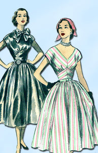 1950s Vintage Advance Sewing Pattern 6118 Misses Cocktail Dress Size 14 32 Bust