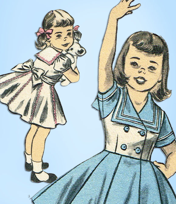 1950s Vintage Advance Sewing Pattern 6188 Uncut Toddler Girls Sailor Dress Sz 6