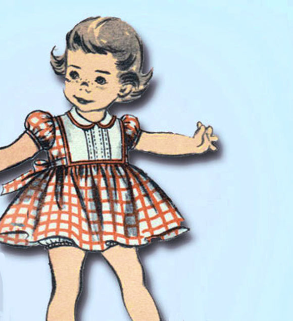 1950s Original Vintage Advance Sewing Pattern 6236 Baby Girls Dress Size 6 mos - Vintage4me2