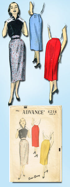 1950s Vintage Advance Sewing Pattern 6256 Sew Easy Misses Pencil Skirt 26 Waist
