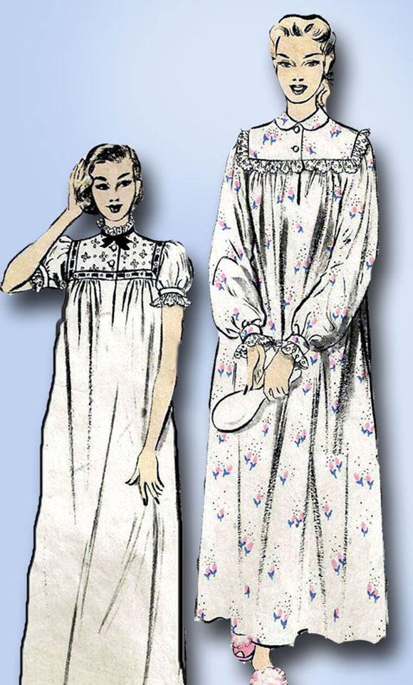 1950s Vintage Advance Sewing Pattern 6258 Uncut Mother Daugher Nightgown Sz 32 B -Vintage4me2