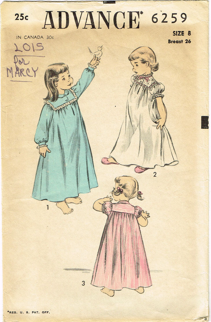 1950s Vintage Advance Sewing Pattern 6259 Little Girls